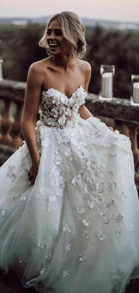 Charming A-Line Sweetheart Custom Sweep Train Wedding Dresses With Hand Made Flower,VPWD448