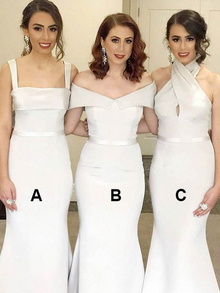 Sexy Mermaid Mismatched Sleeveless Cheap Long Bridesmaid Dresses,VPWG448