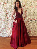 Sexy A-Line V-Neck Two Straps Burgundy Satin Backless Long Prom Dresses,VPPD449