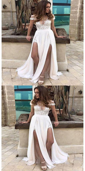 Sexy Slit Casual Custom Cheap Beach Wedding Dresses With Short Sleeves,VPWD045
