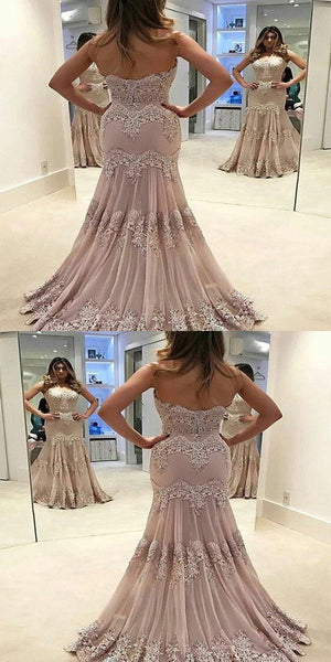 Sweetheart Sweep Train Tulle Appliqued Beaded Prom Dresses,Mermaid Prom Dresses,VPPD045