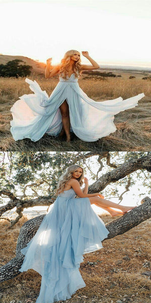 Stunning Chiffon A-line Prom Dresses With Spaghetti Straps Neckline,Cheap Simple Prom Dresses,VPPD046