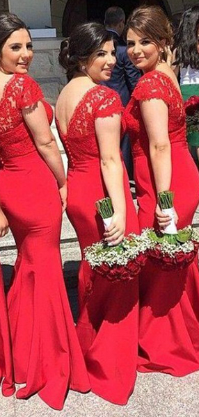 Alluring Mermaid V-Neck Cap Sleeves Red Long Bridesmaid Dresses With Lace,VPWG462