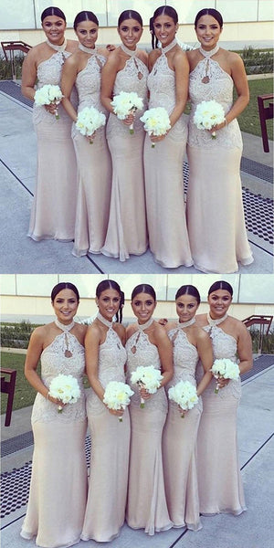 Glamorous Halter Lace Top Sexy Mermaid Long Elegant Cheap Floor Length Wedding Bridesmaid Dresses,VPWG045