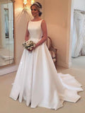 Simple A-Line Round Neck Sleeveless Cheap Sweep Train Wedding Dresses,VPWD474