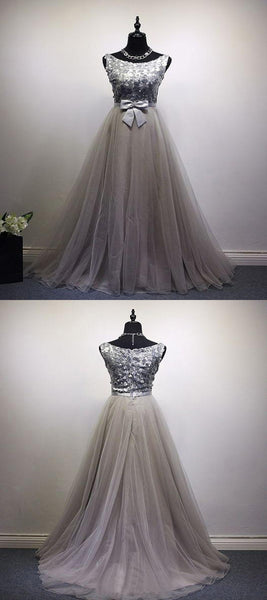 A-Line Scoop Neckline Sleeveless Sequined Tulle Long Prom Dresses,VPPD477