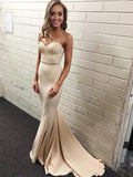 Modest Ivory Stretch Satin Sweetheart Neckline Chapel Train Sheath Prom Dresses,Mermaid Prom Dresses,VPPD047