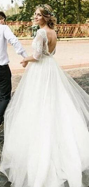 A-Line Round Neck Half Sleeves Tulle Open Back Long Wedding Dresses With Lace,VPWD484