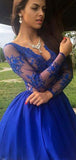 A-Line Deep V-Neck Long Sleeves Homecoming Dresses With Appliques,VPBD494