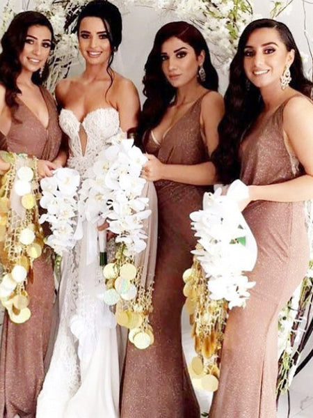 Mermaid V-Neck Sleeveless Side Slit Cheap Long Bridesmaid Dresses,VPWG496