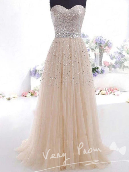 Fashionable A-line Sweetheart Floor-Length Tulle Sequined Prom Dresses,VPPD005