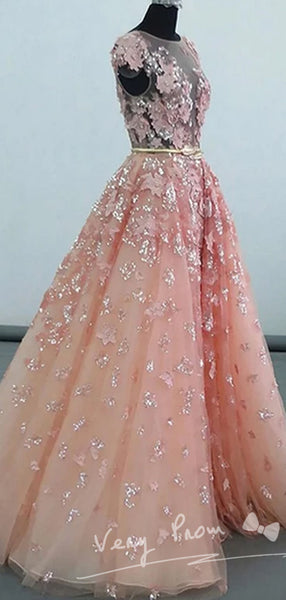 Fantastic A-Line Champagne Tulle Appliqued Sleeveless Long Prom Dresses With Sequins,See Through Scoop Neckline Floor Length Prom Dresses,VPPD008