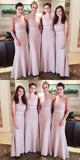 Modest Flesh Pink Small Round Neck Lace Mermaid Sexy Long Bridesmaid Dresses,VPWG049