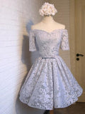 A-Line Grey Off Shoulder Homecoming Dresses,Juniors Graduation Homecoming Dresses,Unique Homecoming Dresses,VPBD050