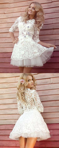 A-Line Round Neck Half Sleeves Lace Homecoming Dresses With Flowers,VPBD511