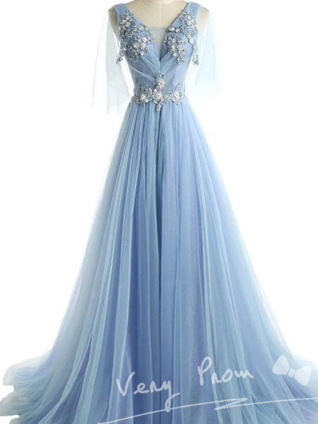A-Line Deep V-Neck Half Sleeves Light Blue Tulle Appliqued Long Prom Dresses,VPPD515