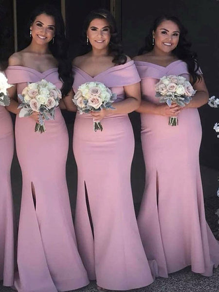 Mermaid Off Shoulder Side Slit Pink Long Bridesmaid Dresses,VPWG518