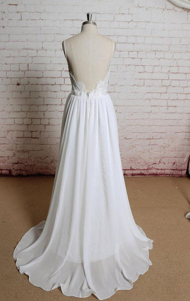 Simple Backless Lace Spaghetti Straps Cheap Beach Wedding Dresses Online,VPWD222