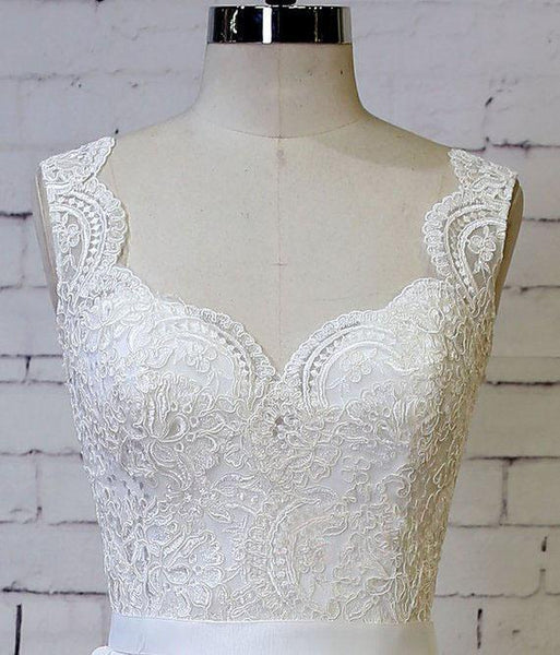 Sexy Backless Lace Cap Sleeves Cheap Beach Wedding Dresses Online, VPWD209