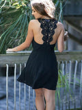 Simple A-Line Scoop Neckline Sleeveless Black Chiffon Homecoming Dresses With Lace,VPBD523