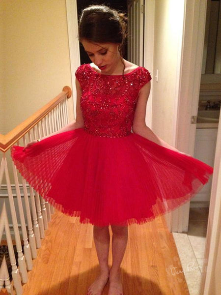A-Line Round Neck Cap Sleeves Red Homecoming Dresses With Beading,VPBD524