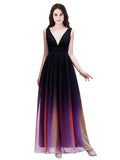 2020 A-Line Deep V-Neck Sleeveless Chiffon Long Prom Dresses,VPPD525