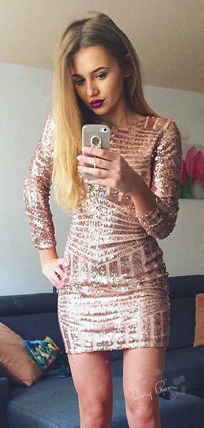 Sexy Mermaid Round Neck Long Sleeves Sequined Short Homecoming Dresses,VPBD527