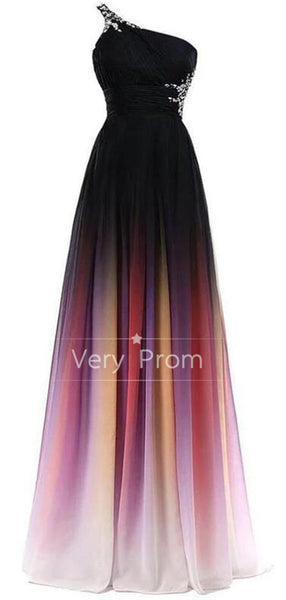 2019 A-Line One Shoulder Beaded Chiffon Long Prom Dresses,VPPD528