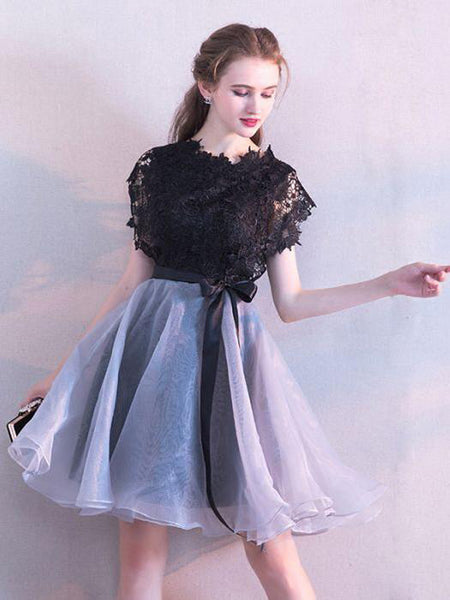 New Arrival Scoop Neckline Black Organza Homecoming Dresses,Modest Short Homecoming Dresses With Appliques,VPBD052