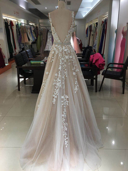 Graceful Tulle V-neck Neckline A-line Prom Dresses With Appliques,Long Prom Dresses,VPPD054