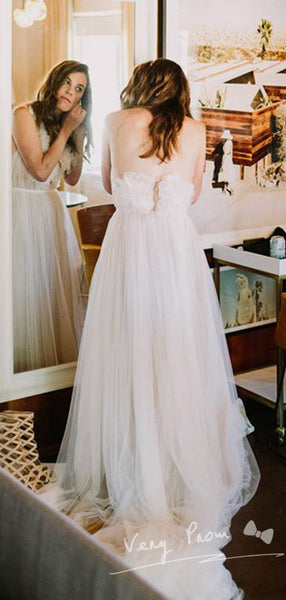 See Through A-Line Round Neck Tulle Long Wedding Dresses With Hand Made Flower,VPWD542