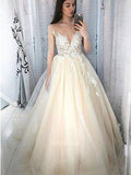 A-Line Deep V-Neck Appliqued Cap Sleeves Tulle Long Prom Dresses,VPPD549
