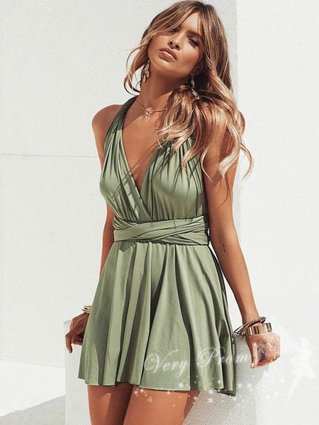 A-Line Deep V-Neck Backless Convertible Short Cheap Homecoming Dresses,VPBD554