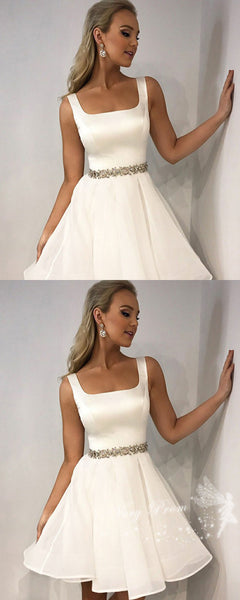 A-Line Square Neckline White Tulle Homecoming Dresses With Rhinestone,VPBD559