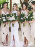 A-Line Spaghetti Straps&Halter Mismatched Chiffon Long Bridesmaid Dresses,VPWG559