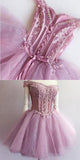 Unique Pink Lace Beaded Cute Homecoming Prom Dresses, Affordable Short Homecoming Dresses,Perfect Homecoming Cocktail Dresses, VPBD056