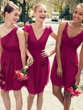 New Arrival Mismatched Burgundy Chiffon Short Bridesmaid Dresses,VPWG563