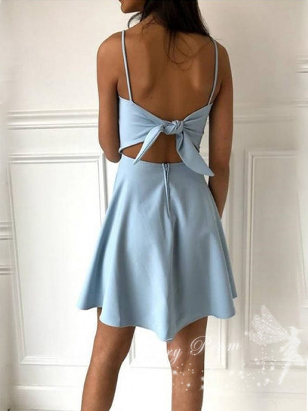 Simple A-Line Spaghetti Straps Above Knee Length Homecoming Dresses With Bowknot,VPBD568