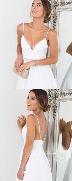 Simple A-Line Deep V-Neck Spaghetti Straps White Homecoming Dresses,VPBD569