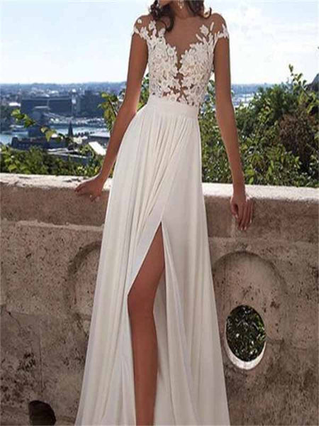 Brilliant Long A-Line White Lace Wedding Dresses With Appliques, Side Slit Sexy Wedding Party Dress,VPWD056