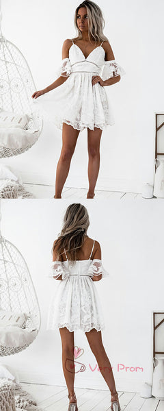 A-Line Deep V-Neck Spaghetti Straps Lace Short Homecoming Dresses With Ruffles,VPBD572