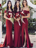 Sexy Mermaid Side Slit Off Shoulder Burgundy Long Bridesmaid Dresses,VPWG573