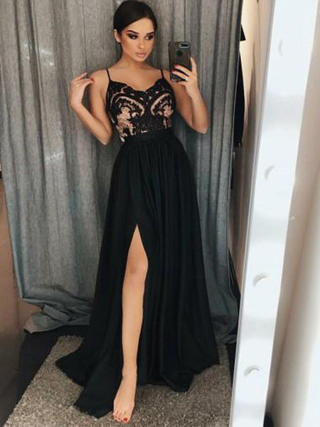New Side Slit Spaghetti Straps Black Long Prom Dresses With Lace,VPPD574