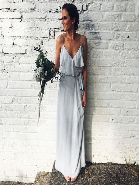 Simple A-Line Spaghetti Straps Light Grey Chiffon Long Bridesmaid Dresses,VPWG575