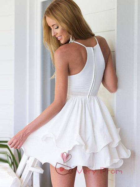 A-Line Deep V-Neck Spaghetti Straps White Short Cheap Homecoming Dresses Online,VPBD585