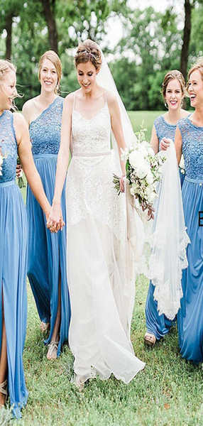 A-Line One Shoulder Blue Chiffon Long Bridesmaid Dresses With Lace,VPWG587