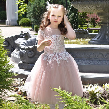 Terrific See Through Scoop Neckline Tulle Flower Girl Dresses With Short Sleeves,Dusty Pink Flower Girl Dresses Online,FG058