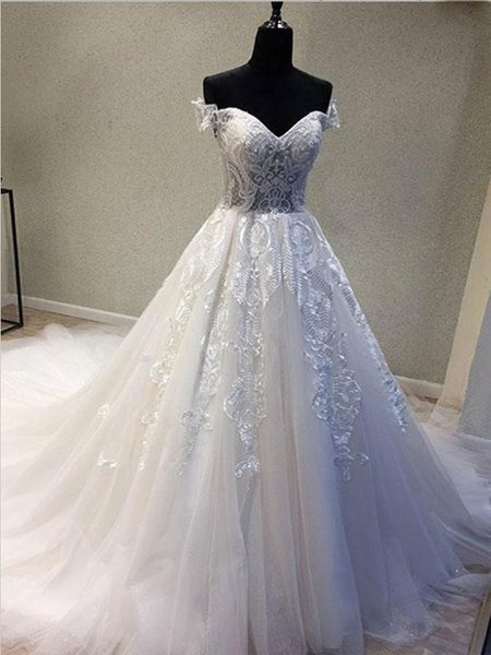 Glamorous A-Line Off Shoulder Sweetheart Floor Length Wedding Dresses With Appliques,Tulle Long Wedding Dresses Online,VPWD58