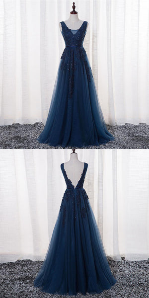 Navy Blue V-Neck Floor-Length Prom Dresses,Luxury Prom Dresses,Custom Made Prom Dresses,Affordable Prom Dresses,VPPD059