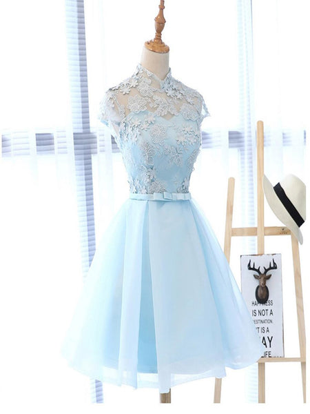 Light Blue Cute Homecoming Prom Dresses, Affordable Short Party Prom Sweet 16 Dresses, Perfect Homecoming Cocktail Dresses With High Neck,VPBD059